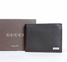 Authentic Gucci tri-fold Men's leather wallet with ID holder in dark brow 217042