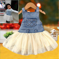 Kids Baby Girls Clothes Summers Denim Tutu Dress Overalls Age 6M-4Y Outfits