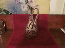 Antique Art Nouveau Sterling Silver Overlay Glass Pitcher/Ewer, cranberry glass