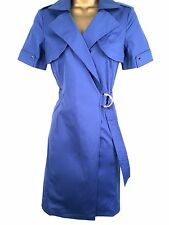 Karen Millen Blue Wrap Shirt Trench Dress Ladies Size UK 8 36 Smart Day Cotton