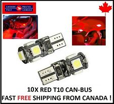10X T10 RED  194 168 1W 5SMD LED No Error Canbus Side Lamp Wedge Light Bulb