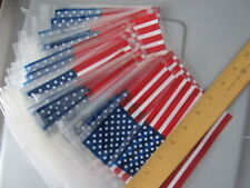 """50 NEW - AMERICAN FLAGS - USA - 7"""" BY 4"""" - PLASTIC FLAGS ACCEPT POLES / STICKS"""