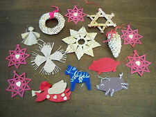 15 Wooden Paper Straw Christmas Ornaments Angel Wreath Pigs Horse Pinecone Stars