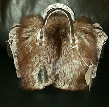 REAL FUR SILVER FOX REAL LEATHER Nicola Firenze HANDMADE HAND BAG  z