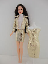 A Set of 4 Pcs Gold Metallic Snake Skin Dress, Mini Skirt Jacket and White Shirt