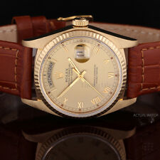 Rolex 18K Yellow Gold Day-Date 18038, Champagne Roman Dial on a Leather Strap