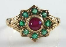 9CT 9K YELLOW GOLD ART DECO INS RUBY EMERALD SUN MOON STAR RING FREE RESIZE