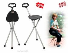 Medical Folding Walking Stick Cane Seat Chair Portable Travel Elderly Outdoor