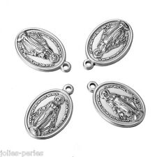 JP 5PCs Stainless Steel Ellipse Disc with Mary Charm Pendants Silver 26x17mm