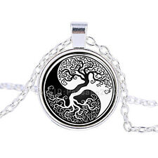 Vintage Tree of Life Cabochon Tibetan Silver Glass Chain Pendant Necklace #148