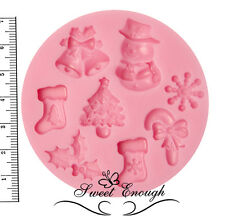 Christmas silicone mould Snow man Flake Rudolph HOLLY Tree Mold Candy sugercraf