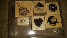 Stampin Up Out of the Box Stamp Set Cupcake Flower Heart Jack in the box Theme