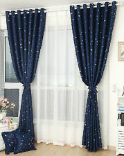 Kids Room Solution Blockout Eyelet Curtains 180cm x 230cm (Drop) Navy Blue Star