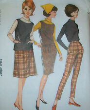 "Vintage 1965 Pants Skirt Dress Blouse, size 16/36"" bust, uncut sewing pattern"