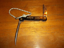 VINTAGE FOLDING RIGGING KNIFE WITH MARLIN  SPIKE AND LANYARD LOOP--SOLID/USEABLE