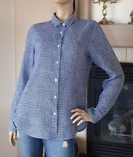 UNIQLO WOMEN PREMIUM LINEN PATTERNED LONG SLEEVE SHIRT COLOR BLUE NWT SIZE L