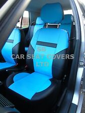 i - TO FIT A PEUGEOT 407 CAR, SEAT COVERS, LEATHERETTE, SKYBLUE / BLACK 59.99