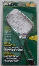 Two UltraOptix Reading Magnifier 2x4 Rectangular Clear 2X/6X Coins Stamps Books