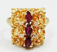Gorgeous 14K Yellow Gold Flower Style Garnet & Diamond Dinner Ring B3615