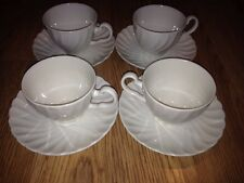 Set of 4 JOHNSON BROTHERS REGENCY WHITE Coffee Tea CUPS & SAUCERS
