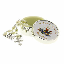 Rosary Box & Beads/Icon/Cross Childrens My First Communion Silver Plt Engraved