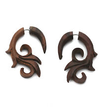 FAKE GAUGE EARRINGS Sono Wood rosewood  F159 carved wooden surgical steel POSTS