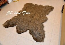 2' x 3' Rectangle Cute Grizzly Cali Bearskin Fur Area Rug Christmas Winter Decor