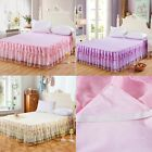 Lace Flower Princess Valance Bed Skirt Fitted Sheet Twin Queen King Size
