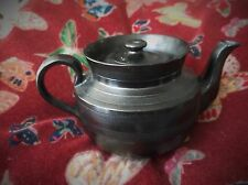 SMALL OLD BLACK BASALT ? POTTERY TEAPOT TEXTURED DESIGN NO MAKER MARK