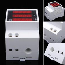 Digital Din-Rail LED Ammeter Voltmeter Voltage Current Meter AC80-300V 0-100A LU