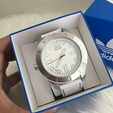 NWT! Adidas ADH3036 Men's 48mm White Calfskin Stainless Steel Case Quartz Watch