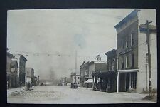 COLBY St Looking West WHITEHALL, MI postcard RPPC 1916 steam ship, Hotel Mears