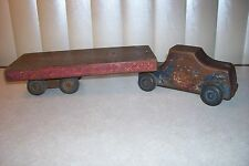 Antique Wood 16 inch long Tractor Trailer