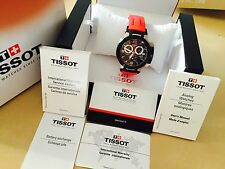TISSOT T-RACE Men's Chronograph Black Dial Red Rubber Strap T048.417.27.057.00