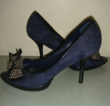 Karen Millen navy blue suede with studded bow platform peep toe shoes 40