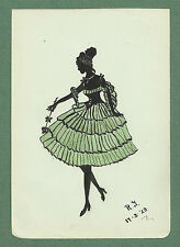 1923 PRETTY SILHOUETTE DRAWING - GIRL IN PARTY FROCK