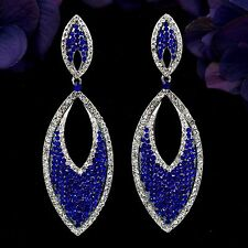 Rhodium Plated Blue Sapphire Crystal Rhinestone Drop Dangle Earrings 08515 New