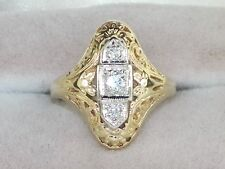14k Yellow Gold Diamond-.14 tcw Three Stone Band Antique Style Ring-Size 4