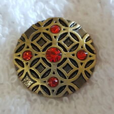 A Red Rhinestone Carved Antique Bronze Snap Charm Chunk Buttons