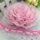 HOT 5yards 3-Layer Pink Beautiful Flower sequined Trim Gathered organza Lace CB2