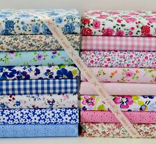 POLY COTTON FABRIC PINK BLUE BUNDLE 16 LARGE PIECES FLORAL GINGHAM DITSY HEARTS
