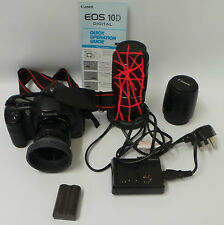 PHOTOGRAPHY : CANNON EOS 10D WITH 2 SMALL LENSES, CHARGER & BATTERY (CCB)