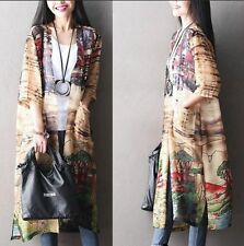 A34 Autumn Chinese Ink Painting Plus Size Women's Long Blouse Cardigan On Sale
