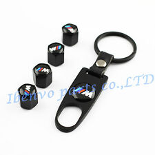 Key chain Metal Black Car Wheel Tyre Tire Stem Air Valve Cap For BMW ///M Power