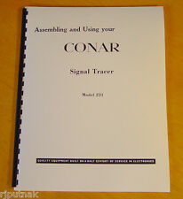 COMPLETE MANUAL for CONAR Signal Tracer model 231 new remastered