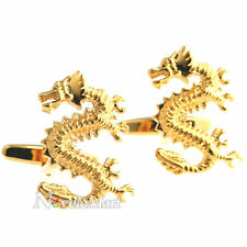 Gold Chinese Standing Dragon Cufflinks Shirt Suit Cuff Links New