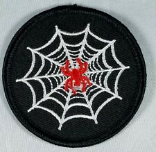Spider patch. Web. Red black and white. Motorcycle