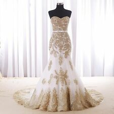 New Gold Lace Mermaid Wedding Dresses Custom Color Plus Size Bridal Dresses