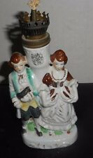 """Colonial Man & Woman-OIL Lamp with wick! Painted Porcelain 8"""" Tall 4"""" Wide 2"""" D"""
