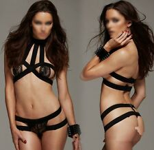 mujeres Sexy Bondage Breast Off Bikini Set Lingerie Nightwear Black Babydoll